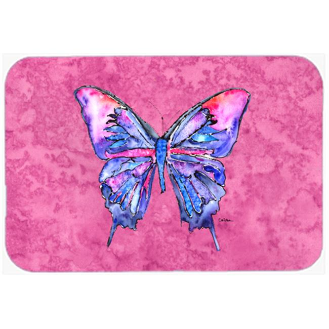 Butterfly on Pink Mouse Pad, Hot Pad or Trivet