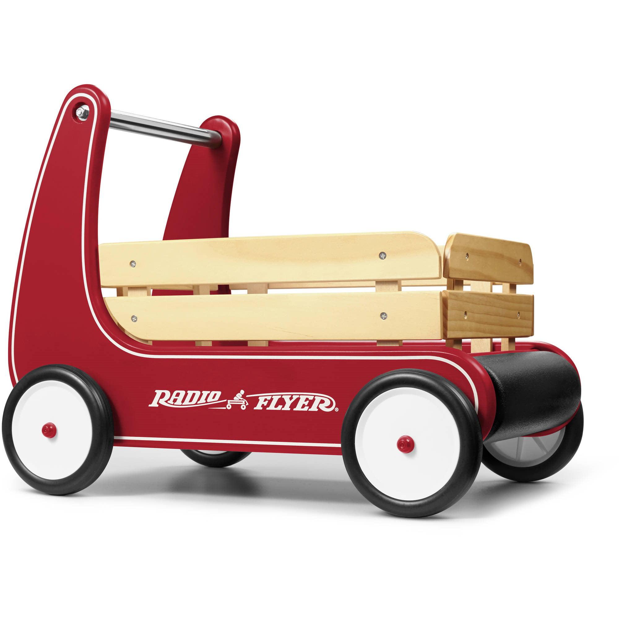 Radio Flyer, Classic Walker Wagon, Wood Push Walker, Red
