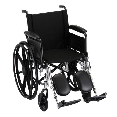 """GO! Mobility Lightweight Wheelchair Seat Size: 20"""" W, Arm Type: Full Arms, Front Rigging: Elevating Leg Rests"""