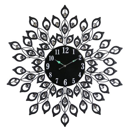 Black Metal Round Wall Clock Blooming Leaves Bejeweled w/Clear Gems 28-inches Nature Inspired Home & Wall Decor