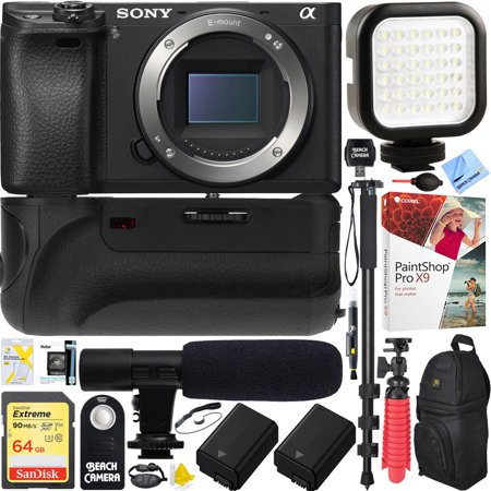Sony a6500 4K Mirrorless Camera Body w/ APS-C Sensor Black (ILCE-6500/B) - 32GB Battery Grip & Shotgun Mic Pro Video