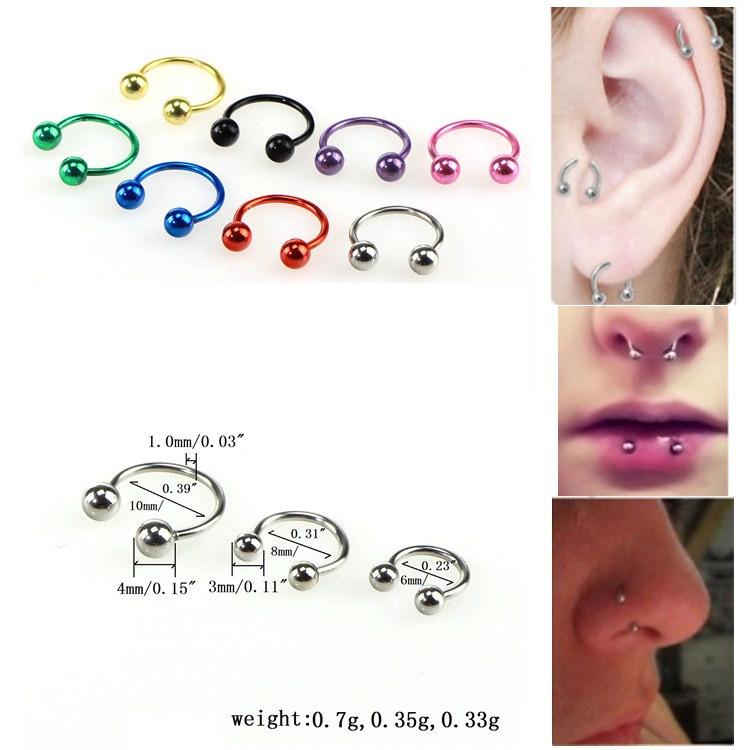 8Pcs Metal Nose Stud Ring Horseshoe Circular Bar Lip Eyebrow Colour Rainbow