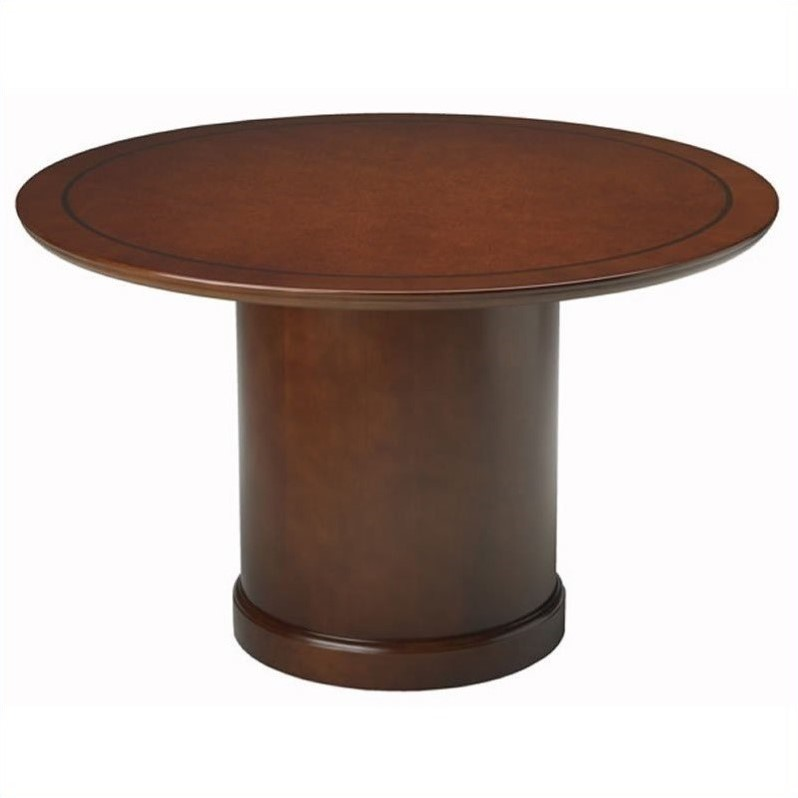 Mayline Sorrento 4' Round Conference Table with Column Ba...