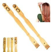 """2 PC Bamboo Wood Back Scratcher Massager 18.5"""" Self-Massager Sturdy Stick Roller"""