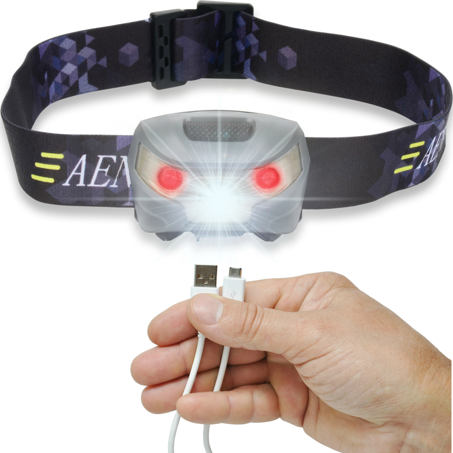 USB Rechargeable LED Headlamp Flashlight Super Bright, Waterproof & Comfortable Perfect Headlamps for Running, Walking,... by