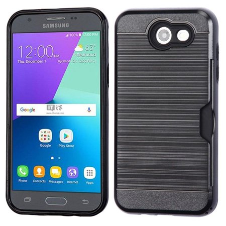 Insten [Shock Absorbing] Hybrid Hard Plastic/Soft TPU Rubber with Card Slot Case Cover For Samsung Galaxy Express Prime 2/J3 (2017), Black](Galaxy Life Halloween 2017)