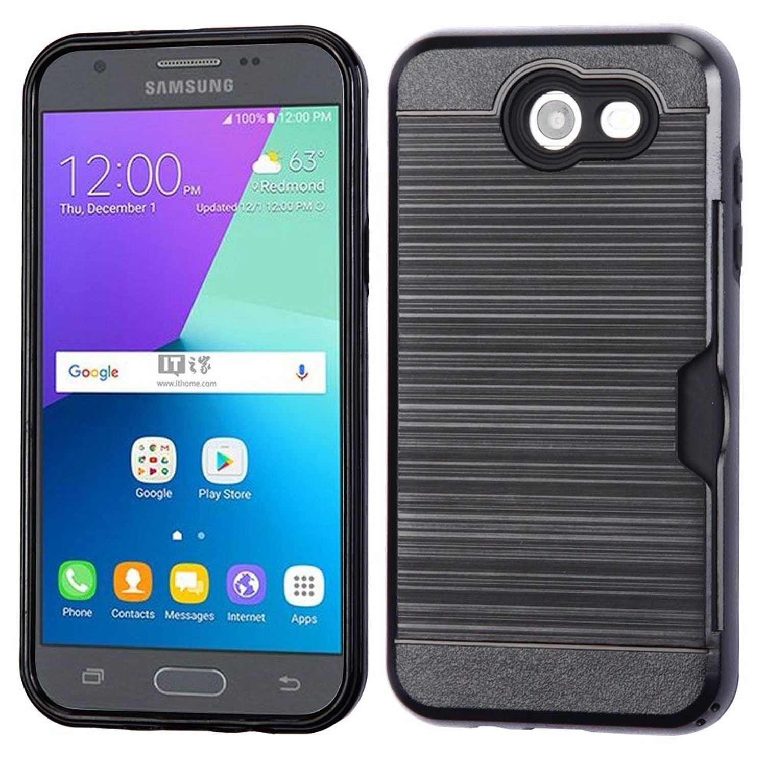 Galaxy J3 Luna Pro case by Insten [Shock Absorbing] Hybrid Hard Plastic/Soft TPU Rubber with Card Slot Case Cover For Samsung Galaxy Express Prime 2/J3 (2017), Black