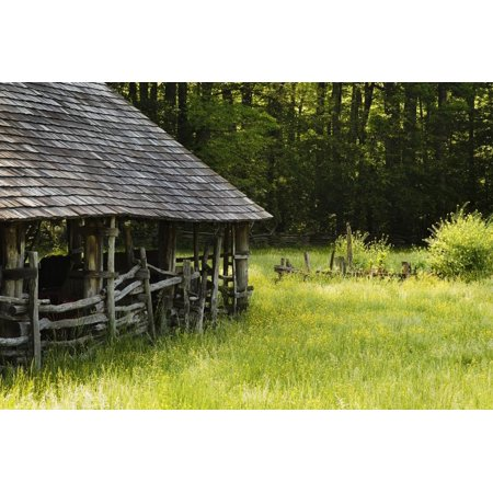 Wooden Barn, Mountain Farm Museum, Great Smoky Mountains National Park, North Carolina, USA Print Wall Art ()