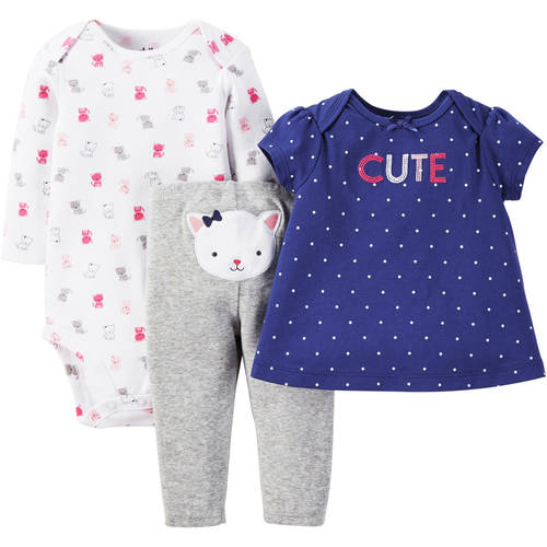 Child of Mine by Carter's Newborn Baby Girl T Shirt, Bodysuit and Pant Outfit Set 3 Pieces