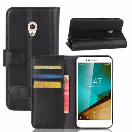 For Vodafone Smart Prime 7 Vf600 Genuine Leather Wallet Case With Flip Stand Function And Card Slots Magnetic Closure Cover  Black