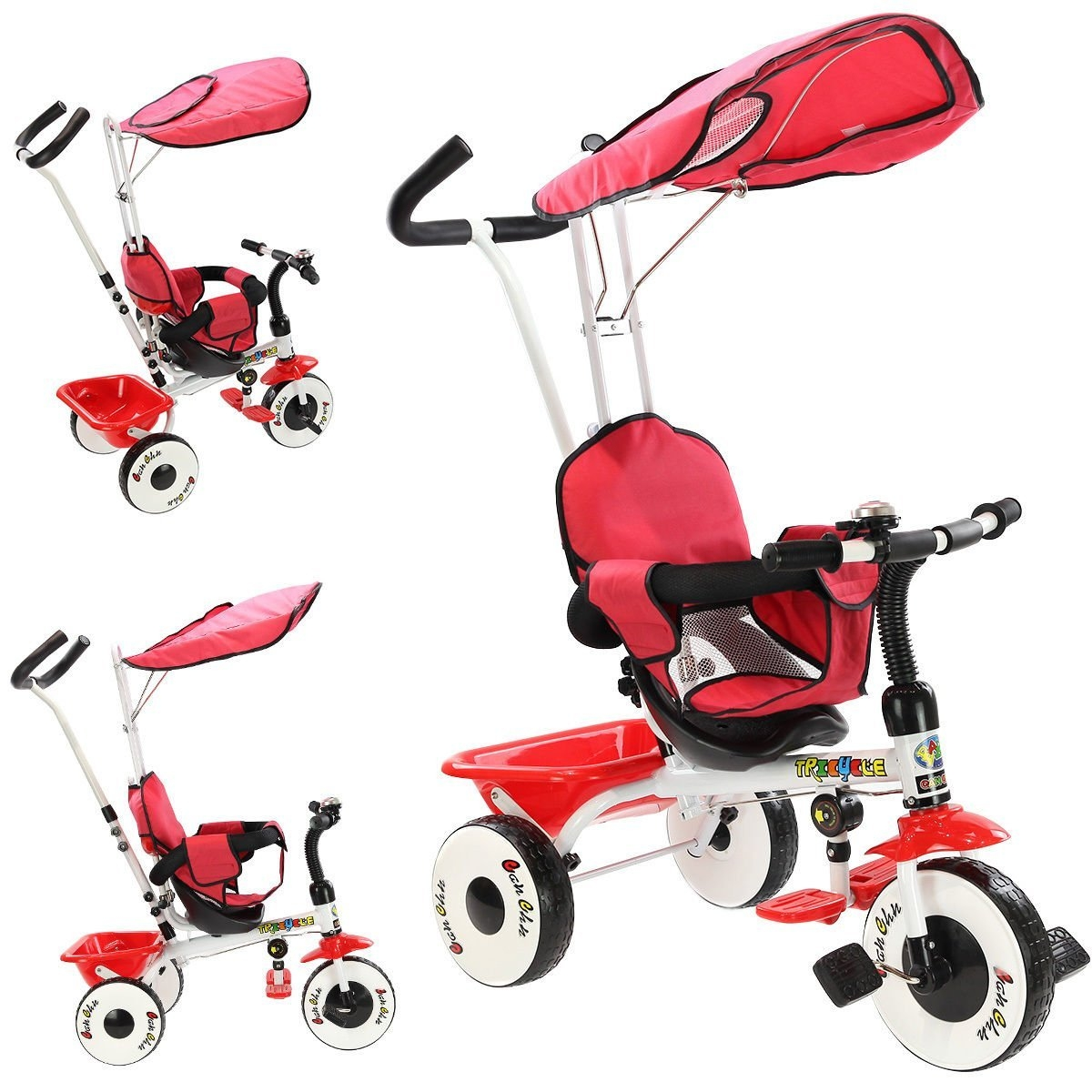 New MTN-G 4-In-1 Kids Baby Stroller Tricycle Training Learning Toy Bike w/ Canopy Basket-Red