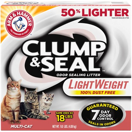 Arm & Hammer Clump & Seal Lightweight Cat Litter, Multi-Cat 9 Lb