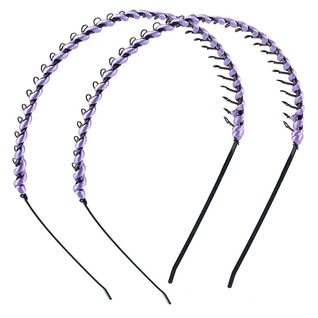 Girls Light Purpel Nylon Coated Black Metal Hair Hoop Headband Ornament 2 Pcs