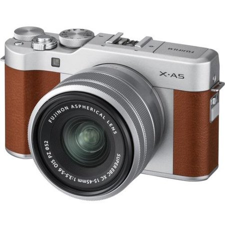 - Fujifilm X-A5 Mirror-less Digital Camera with 15mm-45mm OIS PZ Lens (Brown)