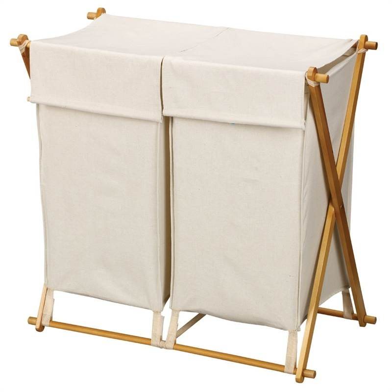 30 in. X Frame Wood Double Hamper