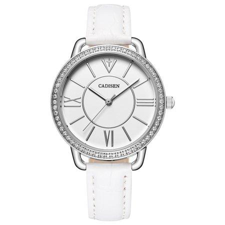 Luxury Leather Gift - Cadisen Fashion Women Watches Quartz Luxury PU Leather Dress Wrist Watch Simple Causal Gift for Women
