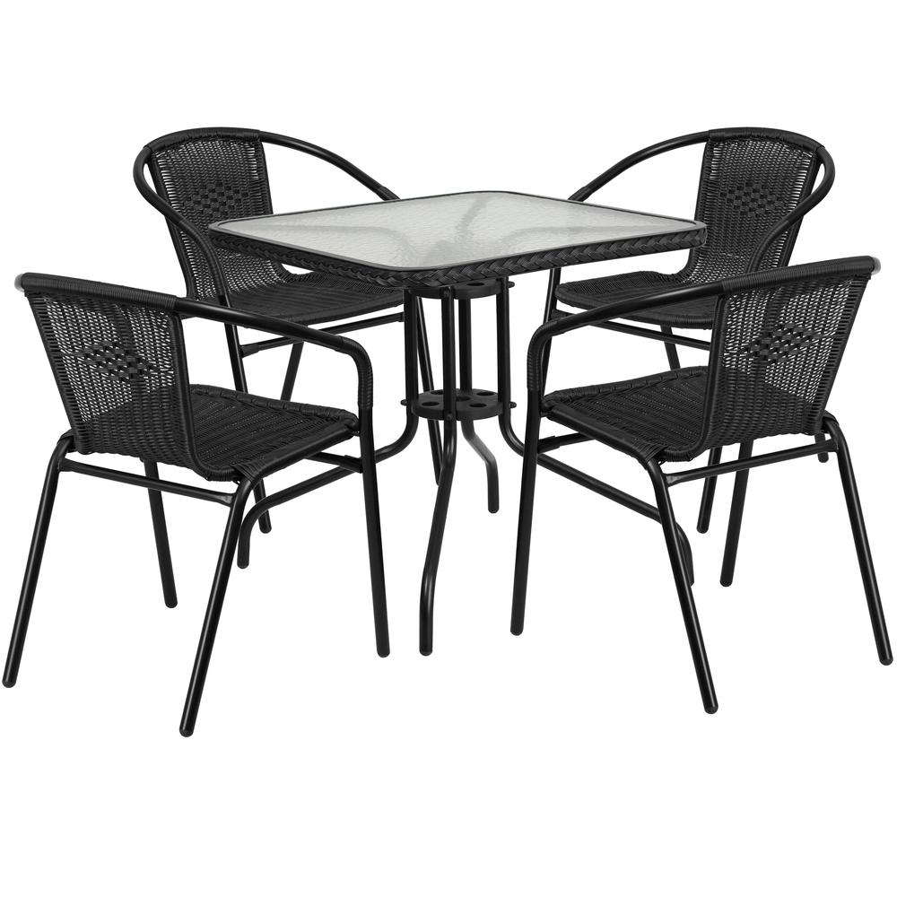 28'' Square Glass Metal Table with Black Rattan Edging and 4 Black Rattan Stack Chairs