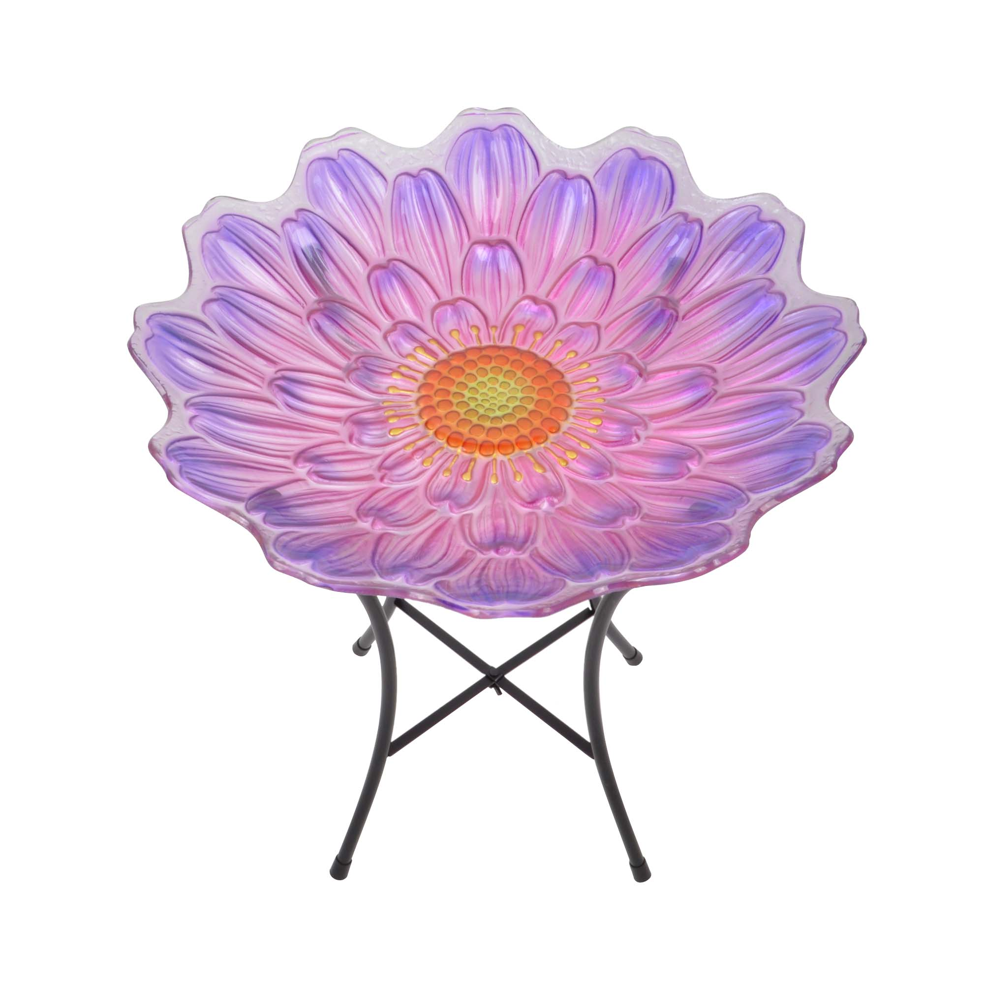 "Peaktop Outdoor 18"" Flower Glass Birdbath pink and purple by Teamson Design Corp."