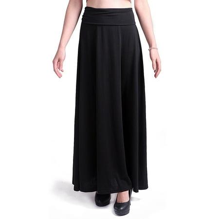 bd156d4059 catan - hde women's high waisted foldover waist maxi skirt (black, medium)  - Walmart.com