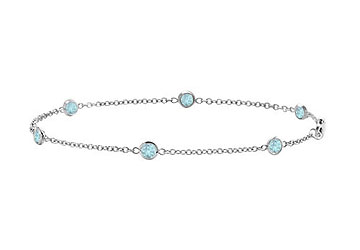 Aquamarine Bracelet 7 Inch White Gold 14K with 0.60 Carat Total Weight by Love Bright