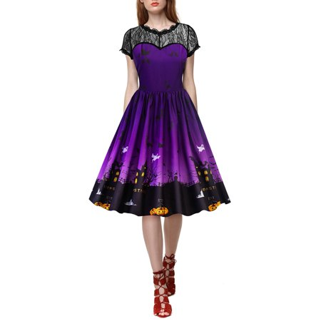 Halloween Dresses for Women Retro Lace Vintage A Line Pumpkin Ghost Printed Pleated Swing Cocktail Short Sleeve Dress