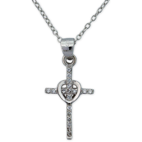 CZ Sterling Silver Cross Heart Pendant, 18""