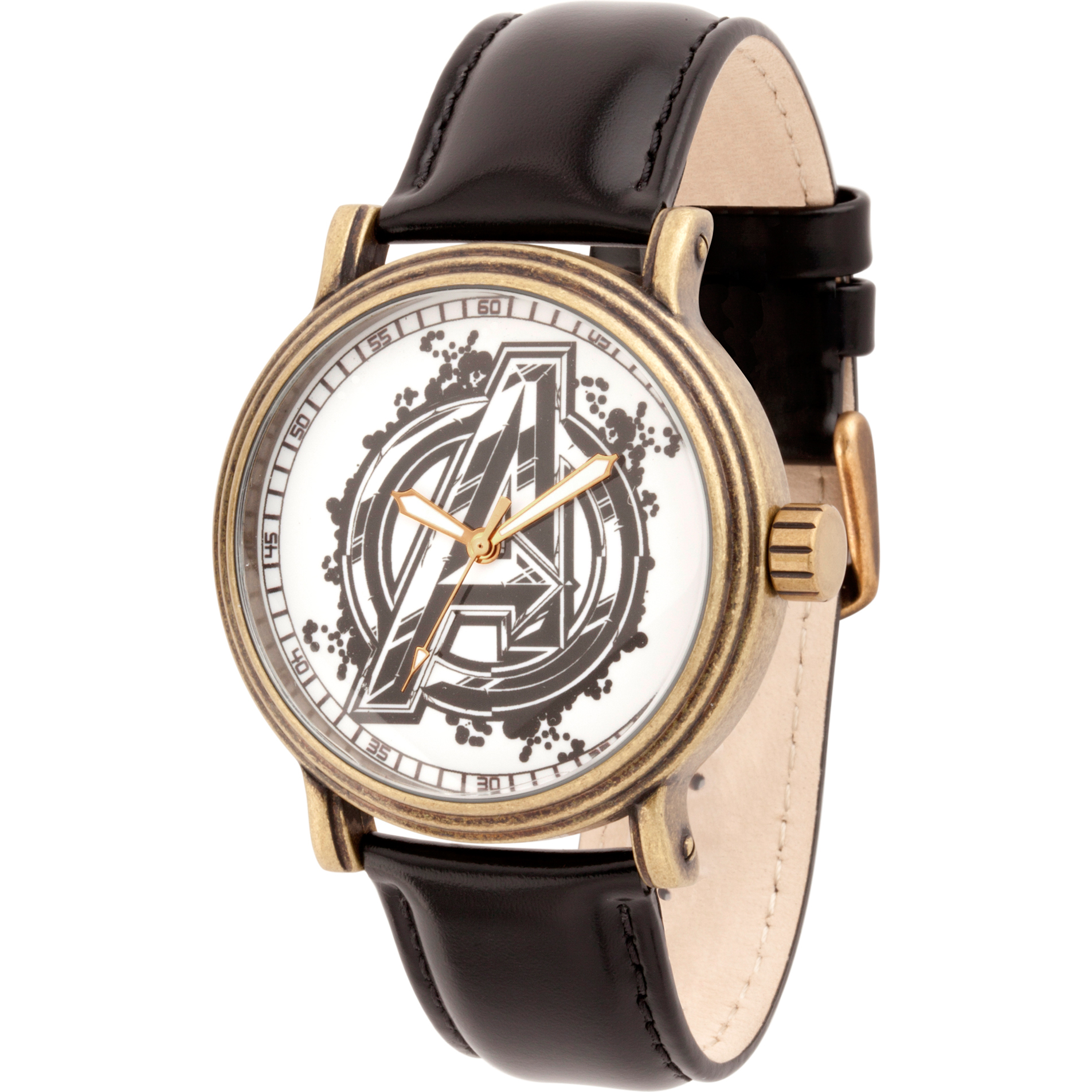 Avengers Infinity War-Avengers Men's Antique Gold Alloy Vintage Watch, Black Leather Strap
