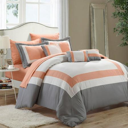 Duke Peach White Amp Grey 10 Piece Comforter Bed In A Bag