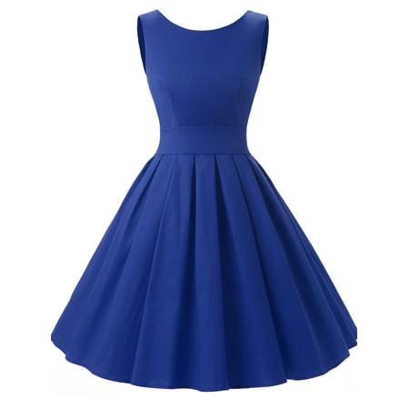 - Market In The Box Women Vintage 1950s A Line Sleeveless Retro Rockabilly Prom Dress