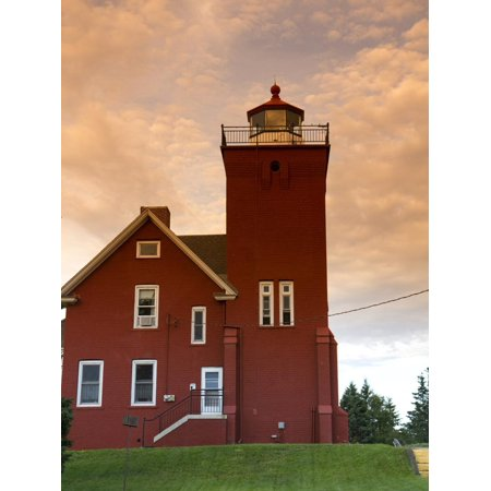 Two Harbors Lighthouse Overlooking Agate Bay, Lake Superior, Two Harbors, Minnesota, USA Print Wall Art By David R. Frazier