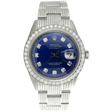 Best Mens Rolex 36mm DateJust Diamond Watch Fully Iced Band Custom Blue Dial 5.10 CT. deal
