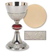 Christian Brands Church Supply TS682 Grape Patterned with Red Node Chalice & Paten Set