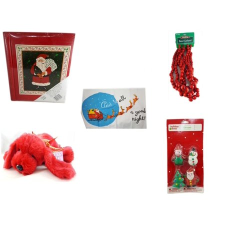 Christmas Fun Gift Bundle [5 Piece] - Lego Merry  20 Page Photo Album -  Time Red Bead Garland 9' Foot - Santa's Pillowcase Sham And To All A Goodnight! -  Pals Soft & Cuddly Red  Dog  10