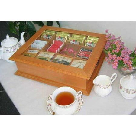 Large Tea Bag Chest Cabinet / Tea Bag Storage Box, Solid Wood (Oak Finish) (Large Oar)