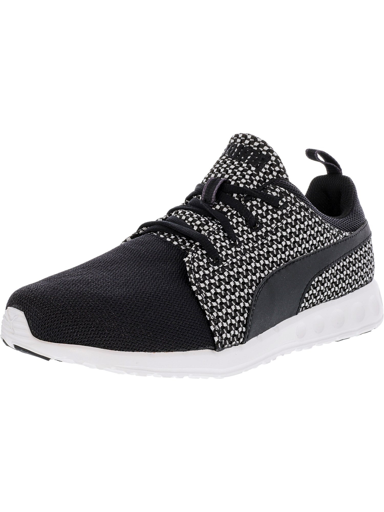 Puma Women s Carson Runner Knit Mesh Black   Star White Ankle ... 7e209092a