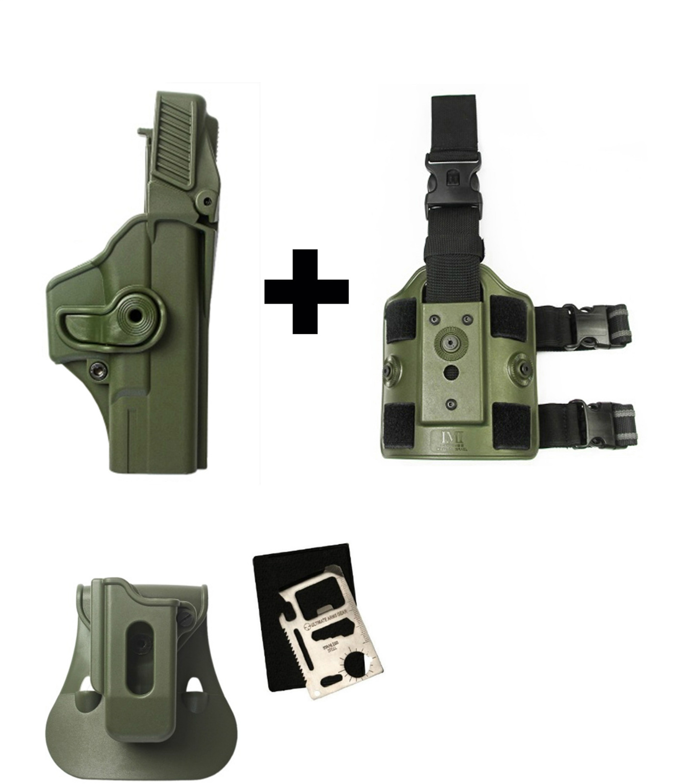 IMI Defense ZSP08 Single Mag Pouch & Paddle + Z1400 Level 3 360� Rotate Holster Glock 19 23 25 32 Gen 4, OD Green +... by