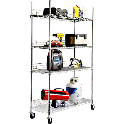 TRINITY 4-Tier Heavy-Duty NSF EcoStorage Wire Shelving with Backstands
