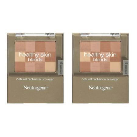 Neutrogena Skin Blends Natural Radiance Bronzer, Sunkissed 30, 0.2 Ounce (Pack of 2) + Makeup Blender 100 % Natural Origin Bronzer