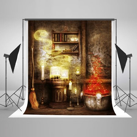 HelloDecor Polyster 5x7ft Halloween Photography Backdrops Bright Candle Mystery Book Brick House Photo Studio Backgrounds (Halloween Mystery Photos)