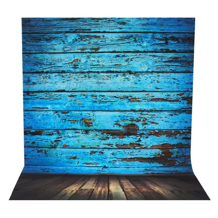 5X7FT Blue Wood Wall Floor Photography Backdrop Background Silk Cloth Christmas Photo Lighting Studio Props Home Decor Gift - Photo Backdrops Christmas