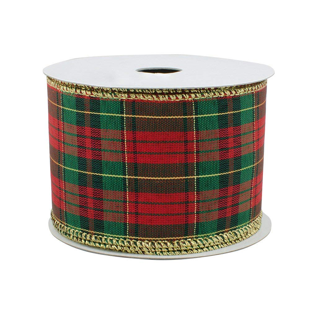 10 Rolls of Wired Ribbon Red Gold Christmas Designs