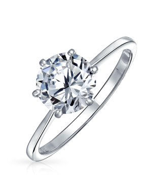 Simple 1.25CT 6 Prong Brilliant Cut AAA CZ Solitaire Engagement Ring For Women 1MM Thin Band 925 Sterling Silver