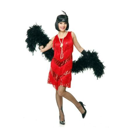Women's Red Flapper Sequin Dress - Red Flapper Dress