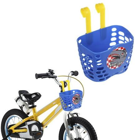- Kid Boy's Bike Basket, MINI-FACTORY Cute Cartoon Blue Shark Attax Pattern Bicycle Handlebar Basket for Boys