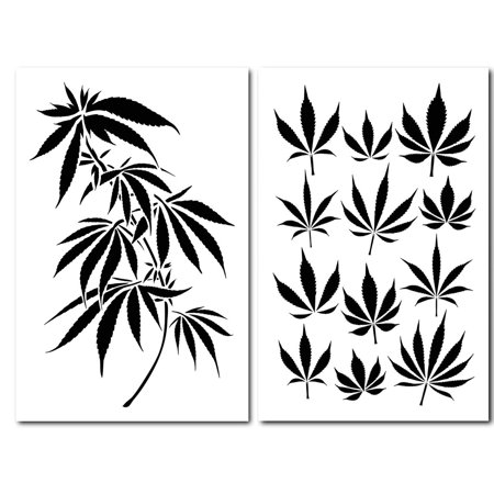 2PK Painting Stencils Camouflage Airbrush Craft Cannabis Marijuana Pot Leaf CAMO