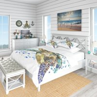 DESIGN ART Designart 'Blue Sea Turtle Illustration' Nautical & Coastal Bedding Set - Duvet Cover & Shams