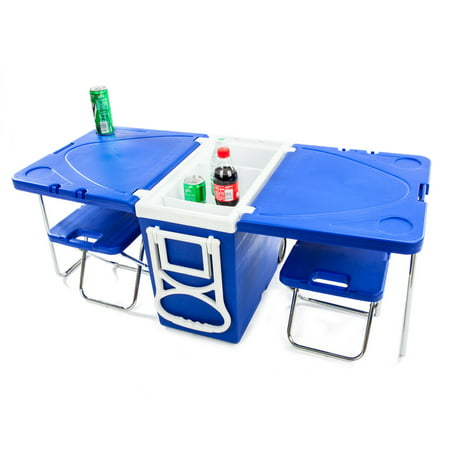 Multi Function wheeled Rolling Cooler Box Picnic Camping Outdoor w/ Table & 2 Chairs Blue