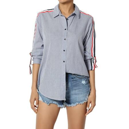 TheMogan Women's Stripe Roll Tab Long Sleeve Button Front Boyfriend Shirt Top Tab Front Shirt