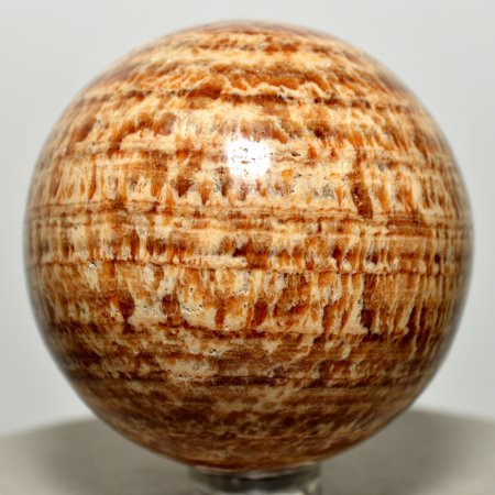 Aragonite Crystal - 52mm Peruvian Aragonite Banded Sphere Natural Brown Crystal Polished Ball Mineral Stone + Plastic Stand