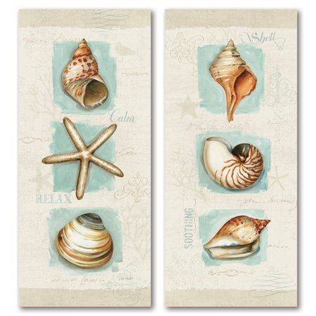 Gango Home Decor Beautiful Spa Shells; Conch, Starfish, Clam and Sea Shell Coastal Wall Art by Lisa Audit; Two Off-White 8x18in Unframed Paper Prints (Paper Only, No Frame)](Starfish Art)